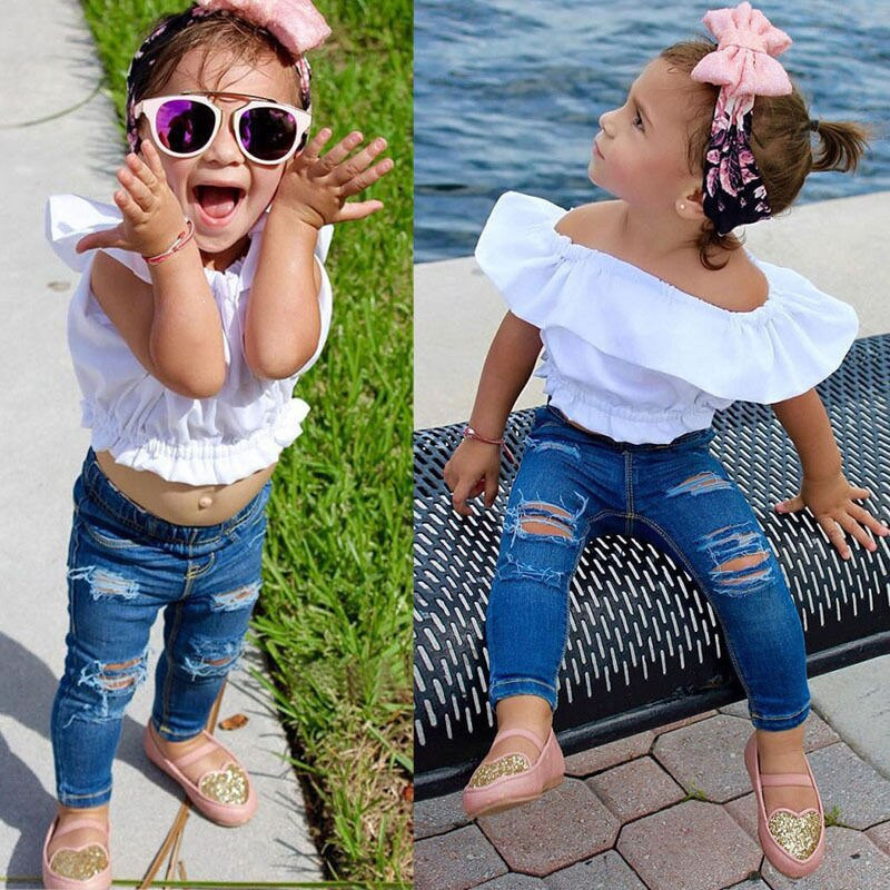 Baby Girls Summer Beach Clothing Sets White T-shirt + Ripped Jeans 2pcs Clothes Set For Girls Autumn Apparel Crianca Roupas