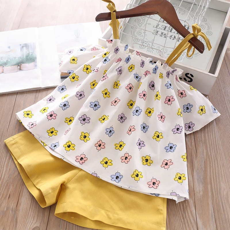 Humor Bear Summer Baby Girls Clothes 2020 Brand New Strap Stripe Pleated lace Girls' Clothing Sets Condole Belt Tops+Pant 2-6Y