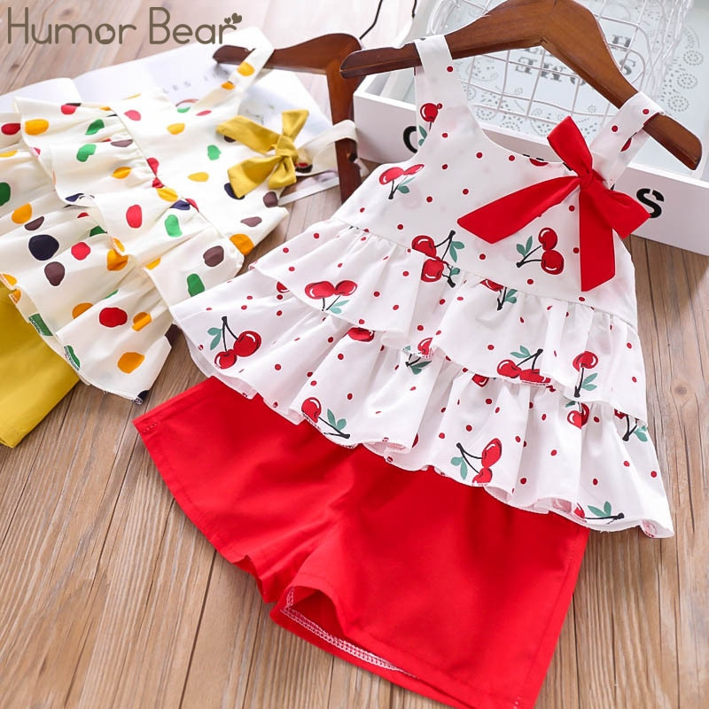 Humor Bear Children Girls' Clothing Set 2020 NEW Toddler Girl Clothes Lovely Tops+Pleated Student Skirt Suit Baby Kids Clothes