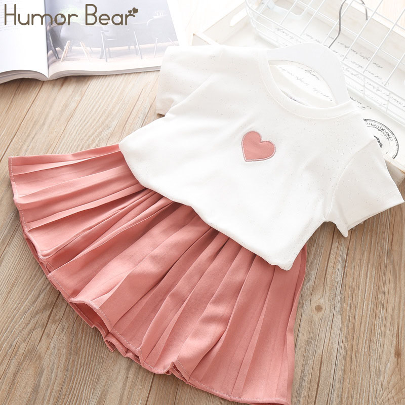 Humor Bear Children Girls' Clothing Set 2020 NEW Toddler Girl Clothes Love Tops+Pleated Student Skirt Suit Baby Kids Clothes
