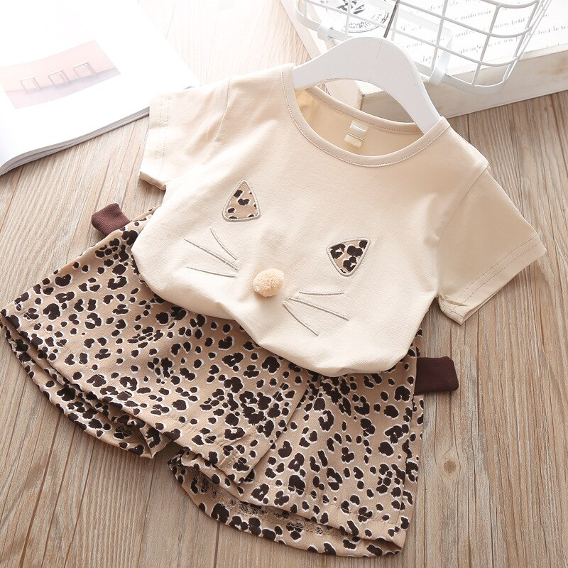 2019 Summer Fashion Brand New Girls' Clothing Children's Clothes Animal Cotton T-Shirt + Leopard  Pants Baby Kids Clothing Set
