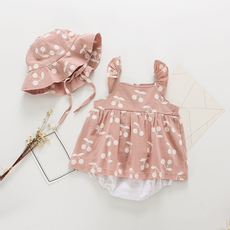 Humor Bear 2019 Summer Baby Clothes Brand New Rompers Clothing Fashion Cute Cherry Prints Kids Clothing+ Hat Toddler Girl dress