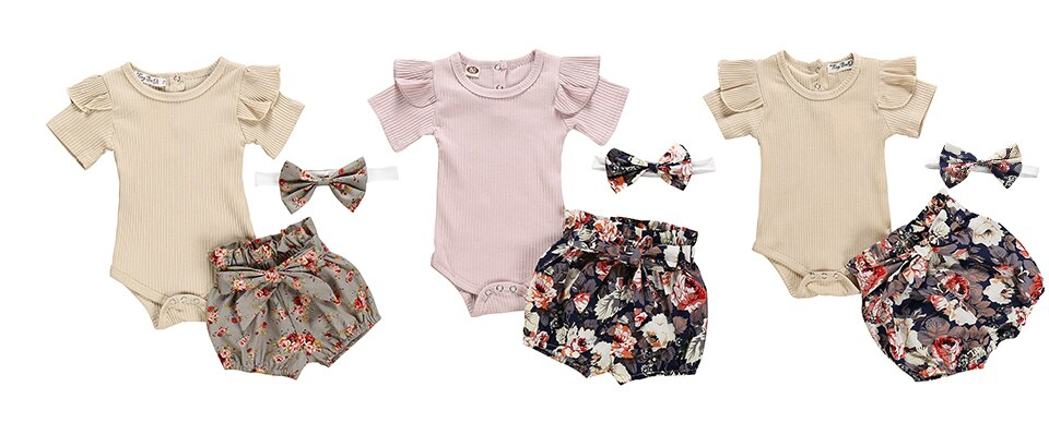 Newborn Baby Girl Clothes Set Summer Princess Party Outfits Romper Strap Dress Headbands 3Pcs Toddler Infant Clothing Baby Girls