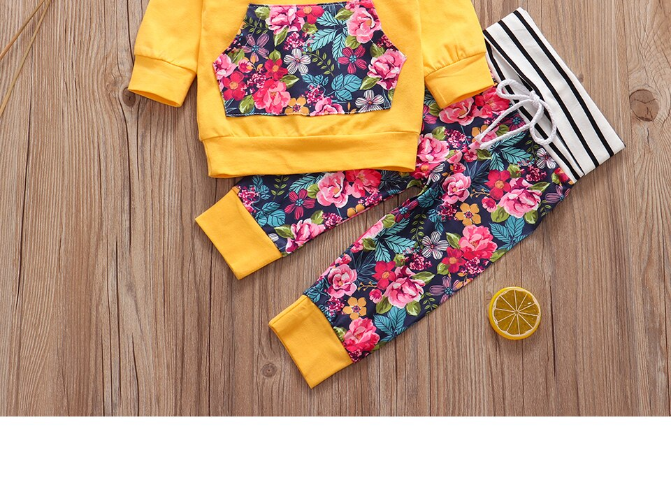 3pcs New Autumn Baby Girl Clothes Set Hoodie+Pants+Headband Outfits Floral Print Newborn Infant Clothes Baby Girl Clothing Sets