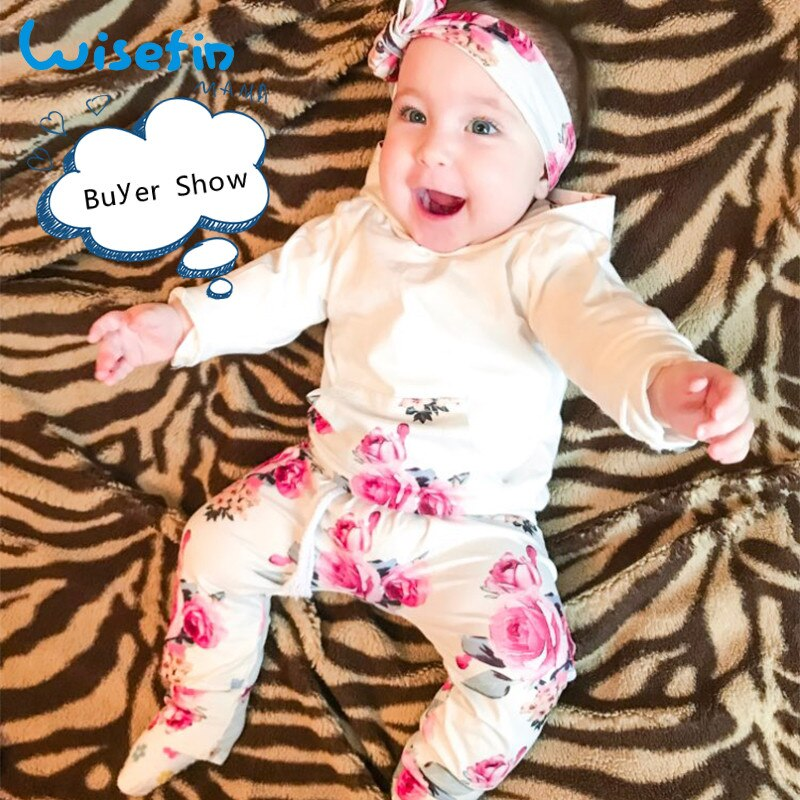 Carters Baby Girl Clothes Set 2020 Newborns Clothing For Girls Floral Tops+Pants+Headband Rose Print Cotton Baby Outfits D30