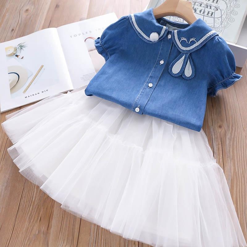 2020 Summer Girls' Clothing Sets Korean Letter Embroidery Lapel Vest Top+Love Skirt 2PCS Baby Kids Clothes Set Children Clothing