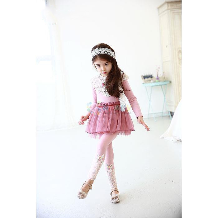2020 Spring Korean Style Kid's Clothes Girls Solid Lace Bow Baby Kids Flower Bowknot Child Legging Trousers Lace Girls Pants
