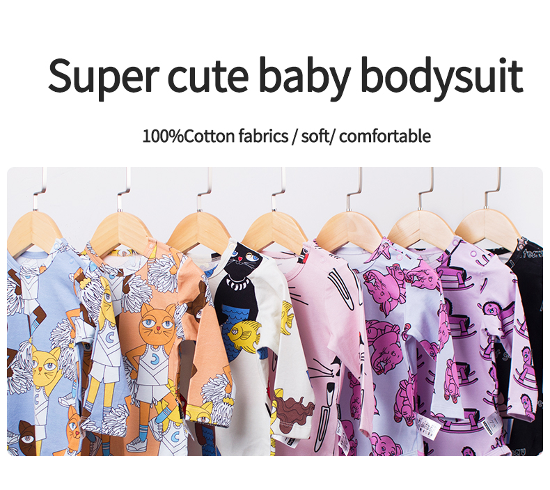TinyPeople 2020 new catan Cartoon newborn Bodysuit Baby Boys Clothes Girls spring Autumn Cotton clothing kids infant Jumpsuit