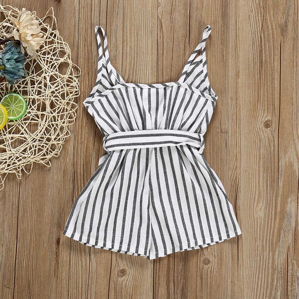Humor Bear 2020 New Summer Baby Girl Clothes Sleeves Striped Bowknot Strap Romper Jumpsuit One-Piece Outfit Sunsuit Clothing