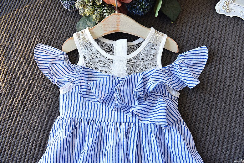 Sodawn Baby Girl Dresses Sleeveless Lace Cute Fashion Summer Dress For Girl Clothing Lace Stripe 2020 Kids Clothes For Girls