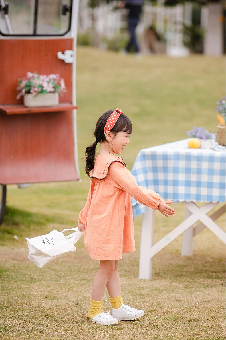 Kids Dresses for Girls 2020 Spring New Toddler Girl Full Flowers Print Dress Baby Cute Lovely Peter Pan Colllar Dresses Clothes