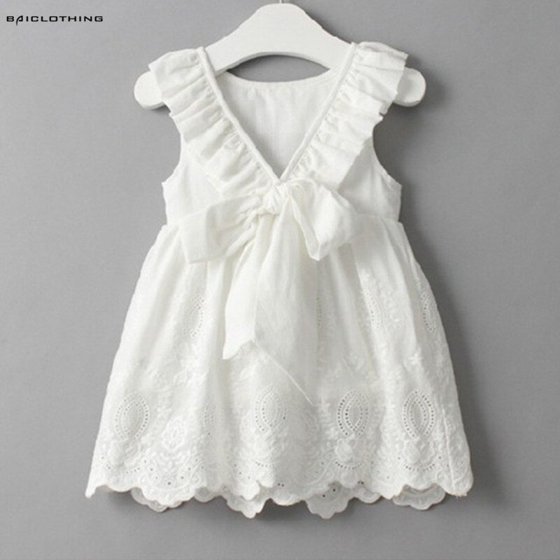 2020 Summer Bow Baby Girls Cotton Dress Sundress Cute Princess Dress White Embroidery Dress Children Clothes For Girls 2-6Y