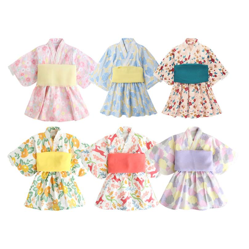 2020 Baby Girl Rompers Japanese Style Kawaii Girls Floral Print Kimono Dress for Kids costume Infant Yukata Asian Clothes Y2746
