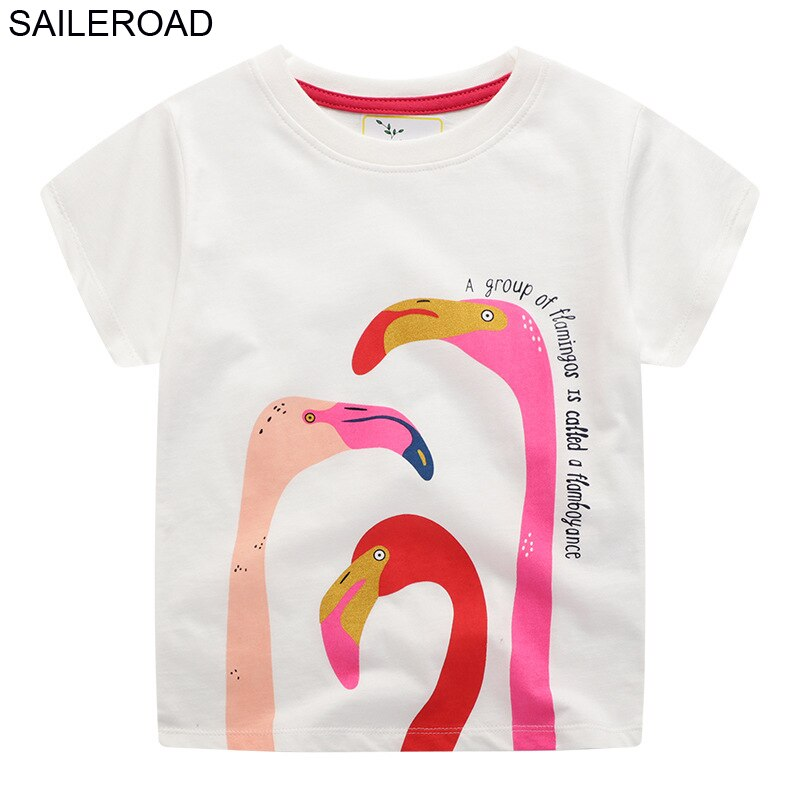 SAILEROAD Animal Print Girls Tops Tees T Shirts for Kids Clothing Summer 2020 New Baby Short Sleeve Clothes Children Cotton