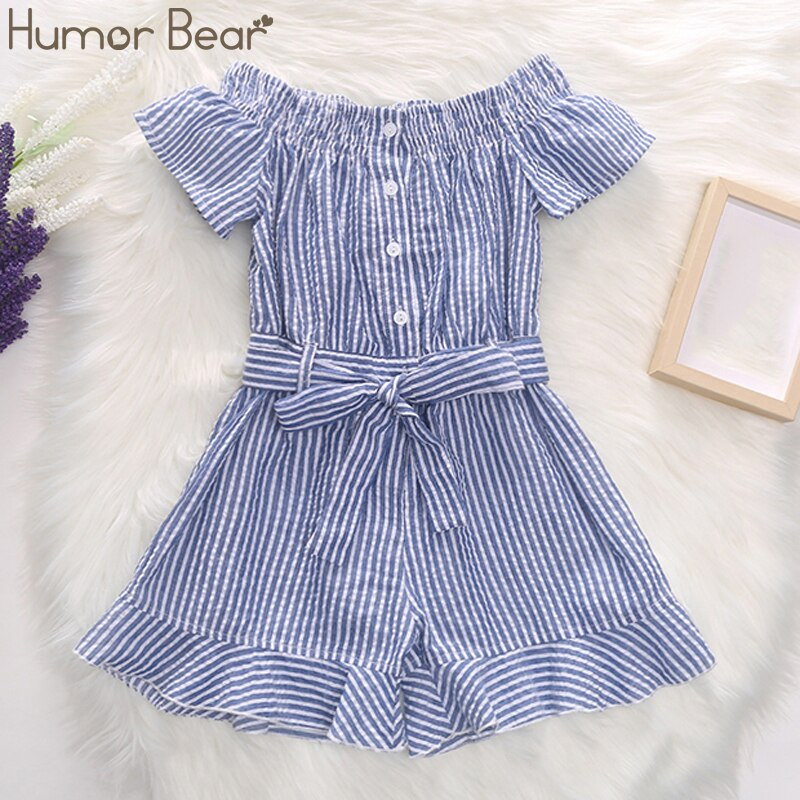 Humor Bear 2020 Toddler Baby Girl Clothes Summer Stripes Print Strap Ruffled Wide Leg Jumpsuit One-Piece Outfit Cotton Clothing