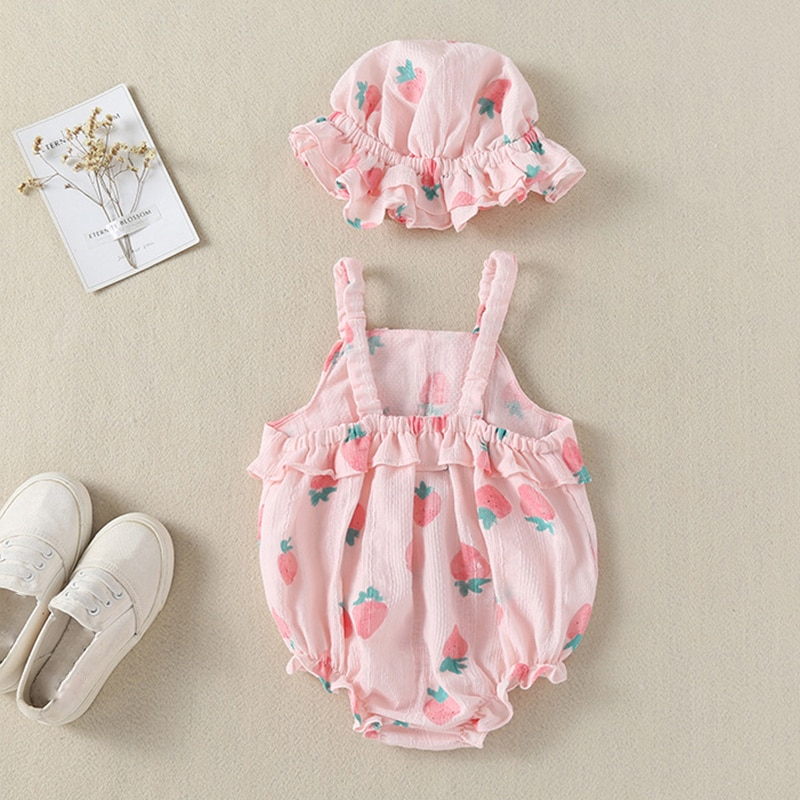 Humor Bear 2020 Summer Baby Clothes Brand New Fashion Cute Fruit Love Bright colour Jumpsuit +Hat Toddler Girls Rompers Clothing