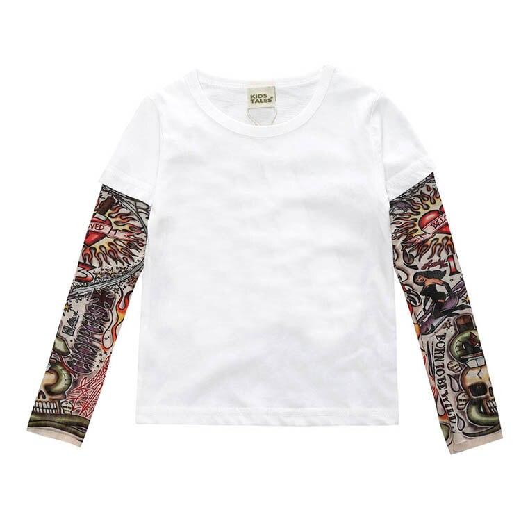 Novelty Tattoo Long Sleeve Children T-Shirts Cotton Boys T Shirt Kids TShirt Autumn Kids Girls Tops 2-7Years Children Clothes