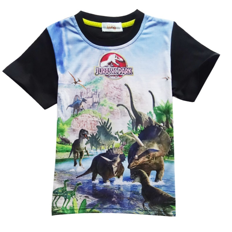 Boys T-Shirt Cartoon Jurassic Park clothes Kids Jurassic World Dinosaur print tshirt garcon tops Baby Boys Short Sleeve Clothing
