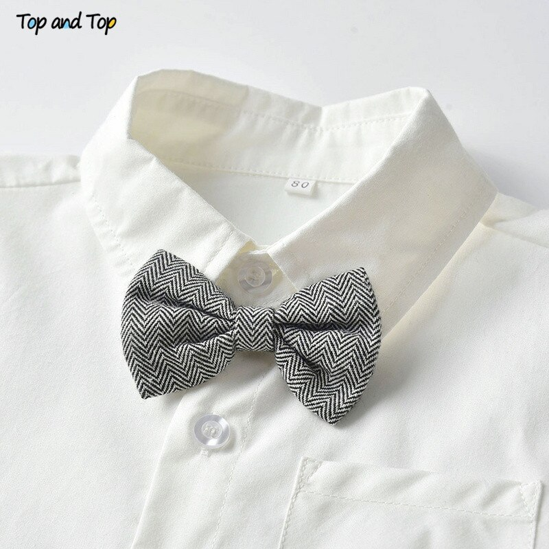 Top and Top Fashion Kids Clothing Sets Boy Gentleman Suit Long Sleeve White Bowtie Shirt+Overalls 2Pcs Clothes Outfits Tuxedo