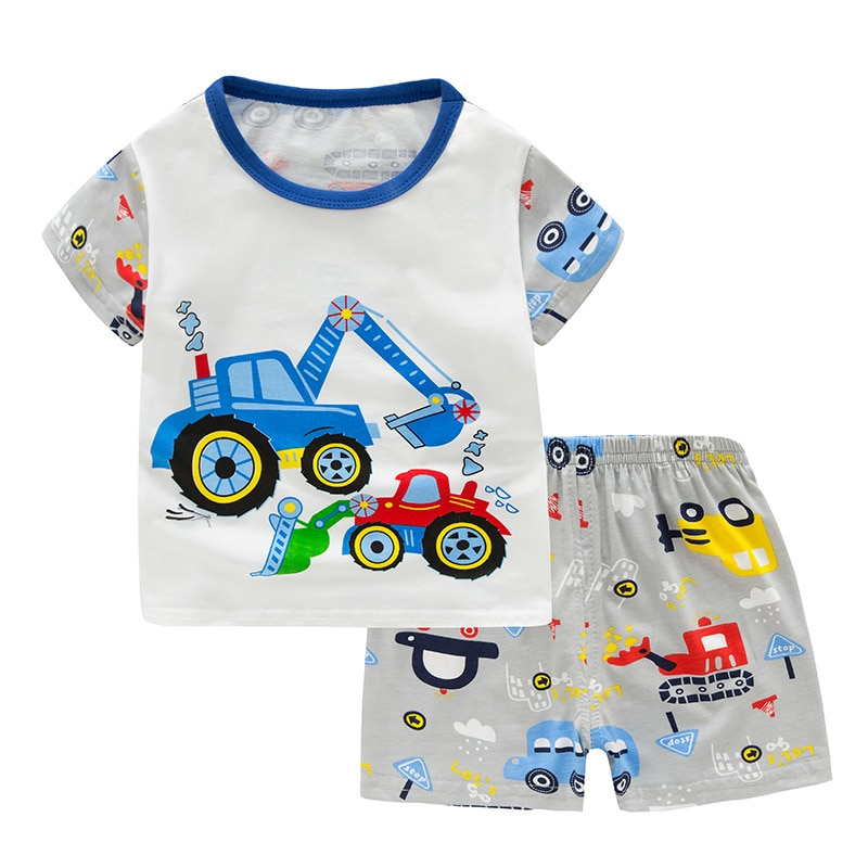SAILEROAD Baby Girl Pajamas Cute Cartoon Dinosaur Short Sleeve Pajamas Set Kids Pyjamas Child Cotton Pijama Boy Homewear Clothes