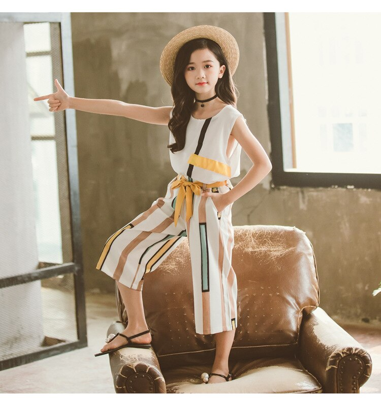 Child Girls Summer Clothing Set Sleeveless Clothes For Children Striped Clothes Suit For Girls 6 8 12 Years Teen Girls Clothing