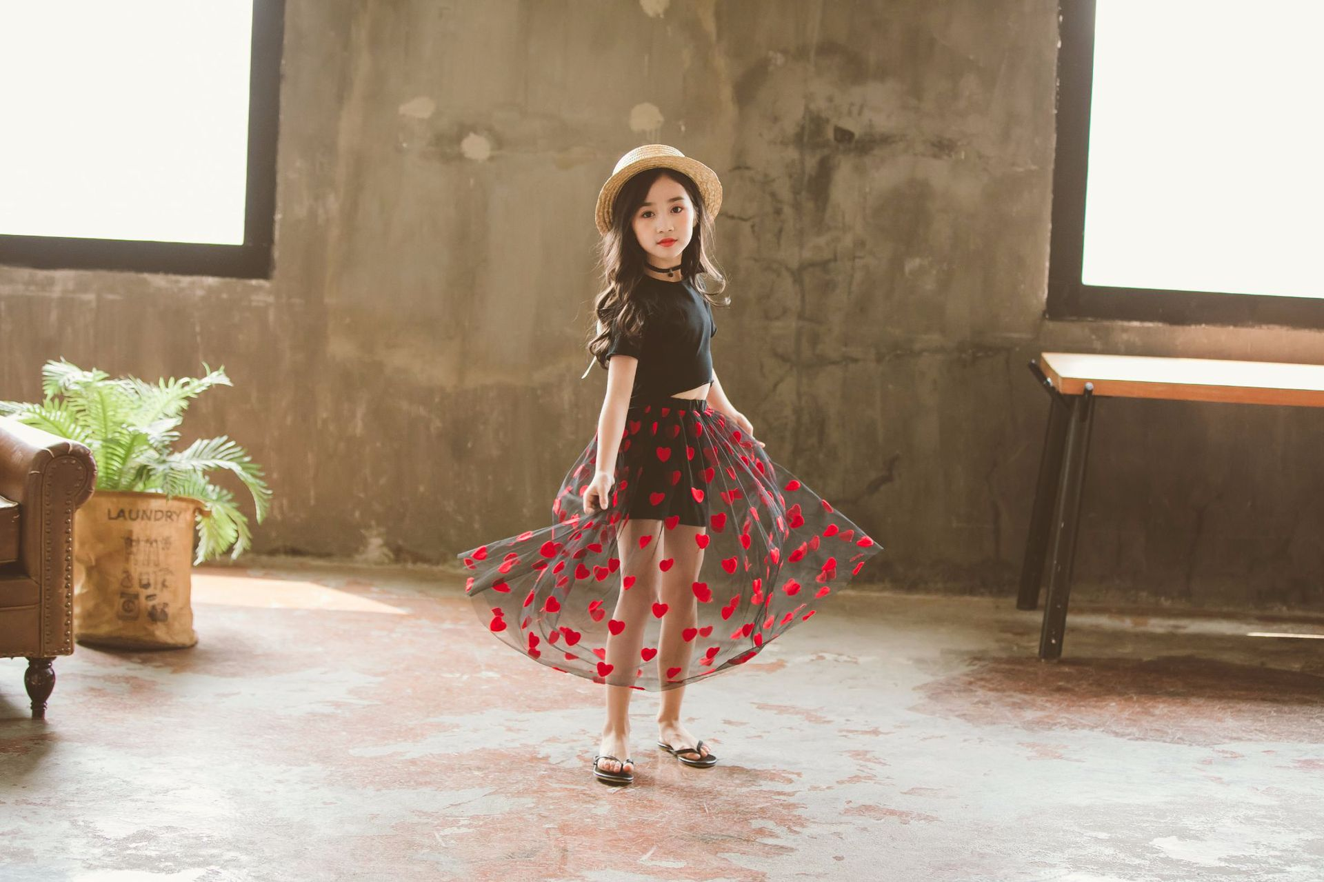 Baby Kids Girls Clothes Set Summer Outfit Cotton Tops Long Heart Mesh Tutu Skirts Teens Girl Clothing Sets For 4 6 8 10 12 14 Yr