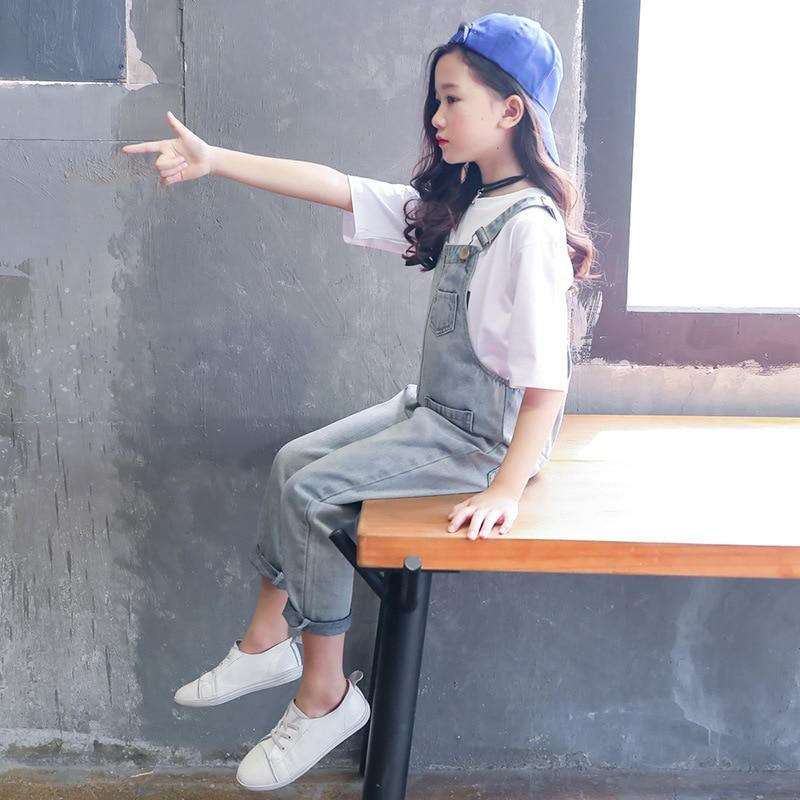 2019 Children Teens Girls Vintage Denim Loose Jumpsuit Overalls Playsuit For Girls School Jeans Jumpsuits Romper Clothes Outfits