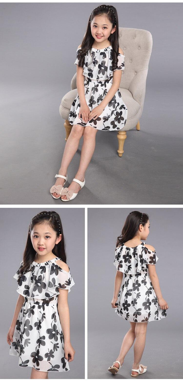 Kid Girl Dress Summer 2019 Children's Elegant Clothing Teen Girls Flower Chiffon Dresses Princess Party Clothing  Costume 3-12T