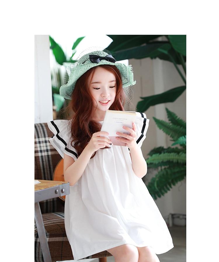 Baby girls dress 2019 Summer White Beach Dress Ruffle Fly Sleeve Dresses For Kids Cute Korean Toddler Teens Children Clothing