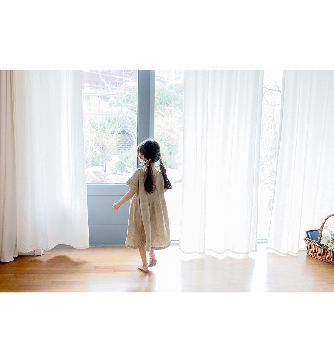 2019 summer Big Girl Dress Loose Ruffles Cotton Linen short Sleeve Teens Dresses  Casual Kids Outfits Princess Children Clothing