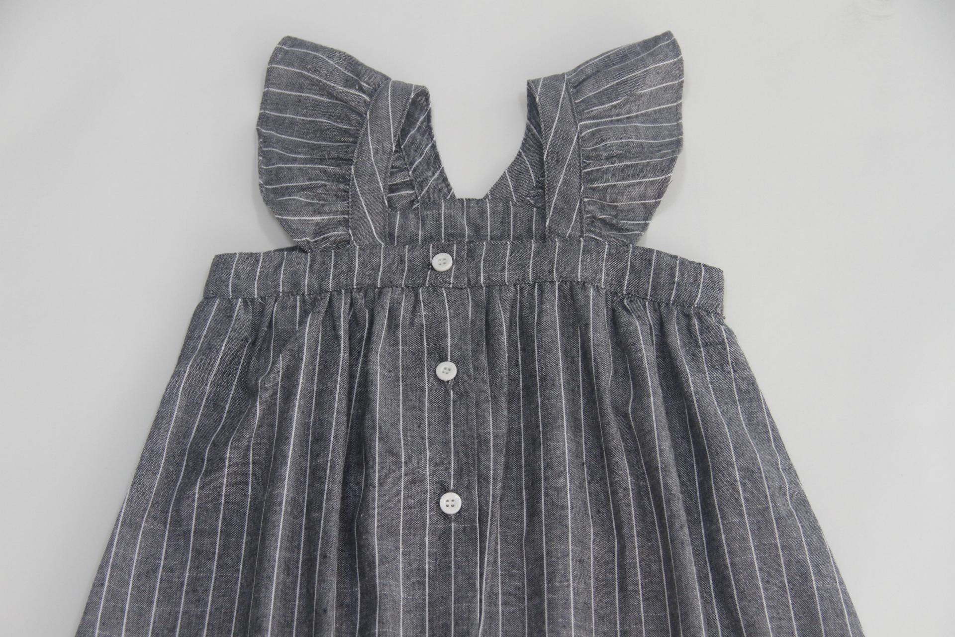 cotton linen ruffles korean kids clothes big children dresses girls new 2019 summer baby girls Teens dress stripe party frocks