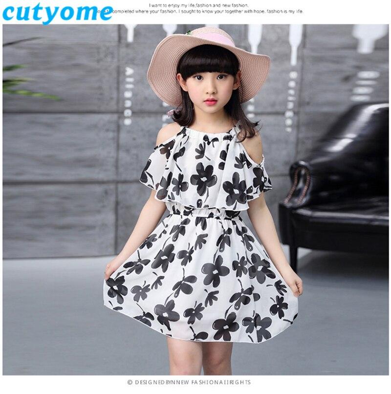 Cutyome Big Girls Shoulder Off Beach Dresses 10 13 14 16 Years Summer Kids Sleeveless Floral Printed Holidays Dress Teen Clothes