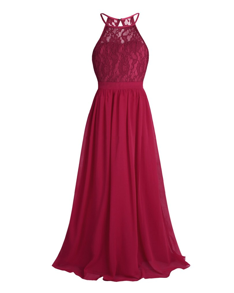 iEFiEL Sleeveless Halter Flower Girls Tulle Lace Dress Formal Party Ball Gown Prom Princess Bridesmaid Wedding Kids Teen Clothes