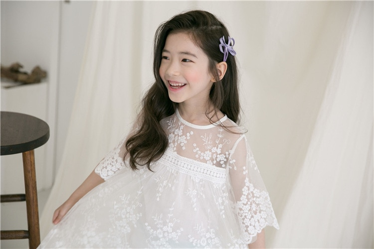 Big Girls Dress Summer Princess Party Frocks Lace Embroidery White Dress for Teens Girl 4 6 8 10 11 12 14 Yrs Children Clothing