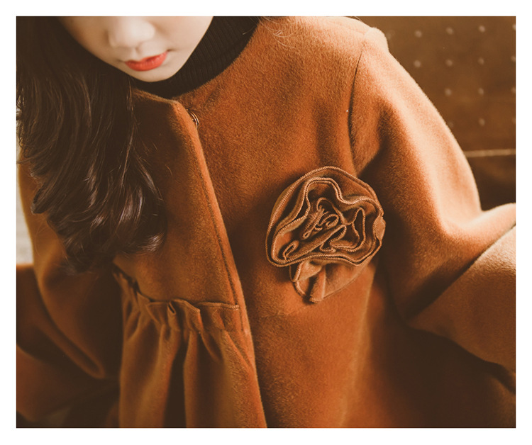 2019 Winter Cute Girls Wool & Blends Floral Jacket Children Fashion Outerwear Teenager Kids Teens Coat Clothes 3-14T 2 Colors
