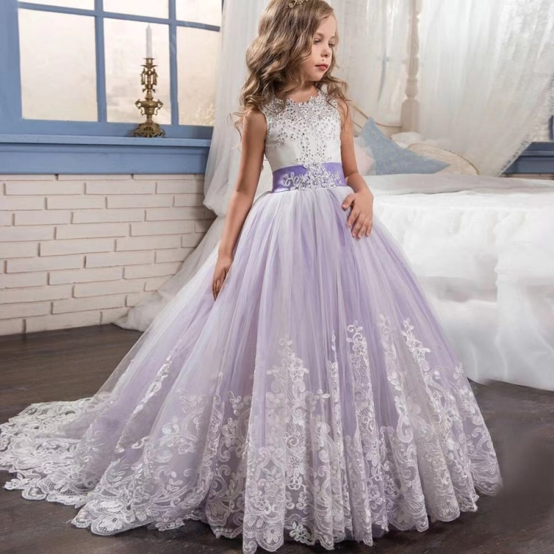 Girl lace embroidery Christmas birthday party dress flower wedding girl formal children's clothing teen clothing
