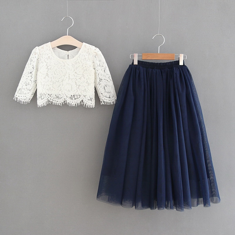 2020 Spring Summer Set Clothing for Girls Half Sleeve Lace Top+Champagne Pink Long Skirt Kids Clothes 2-11T E17121