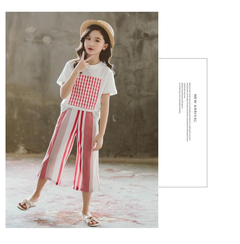 Summer 2020 Big Girls Short-sleeved Suit Children's Clothing Set Kids Short-sleeved + Wide-leg Pants 2 Piece Set Casual Clothing