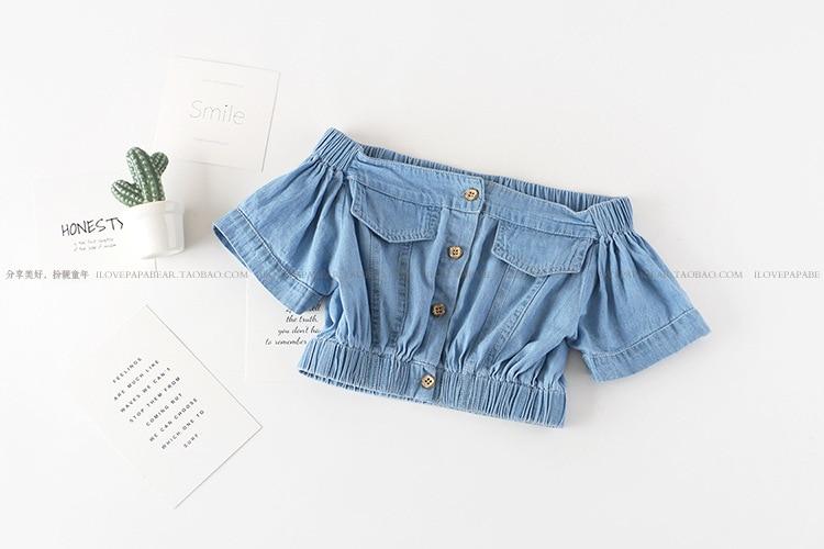 Summer Girls' Clothing Sets Korean Denim Short-sleeved T-shirt+High Waist Skirt 2PCS Baby Kids Clothes Suit Children Clothing
