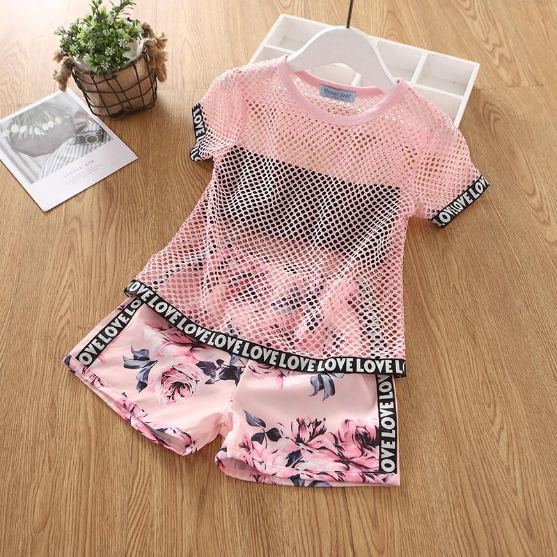 Humor Bear Girls Clothing Set Pearl Girls Clothes Set Lovely Long Eyelashes Toddler Girl tops + Pants Girls Suit Kids Clothes