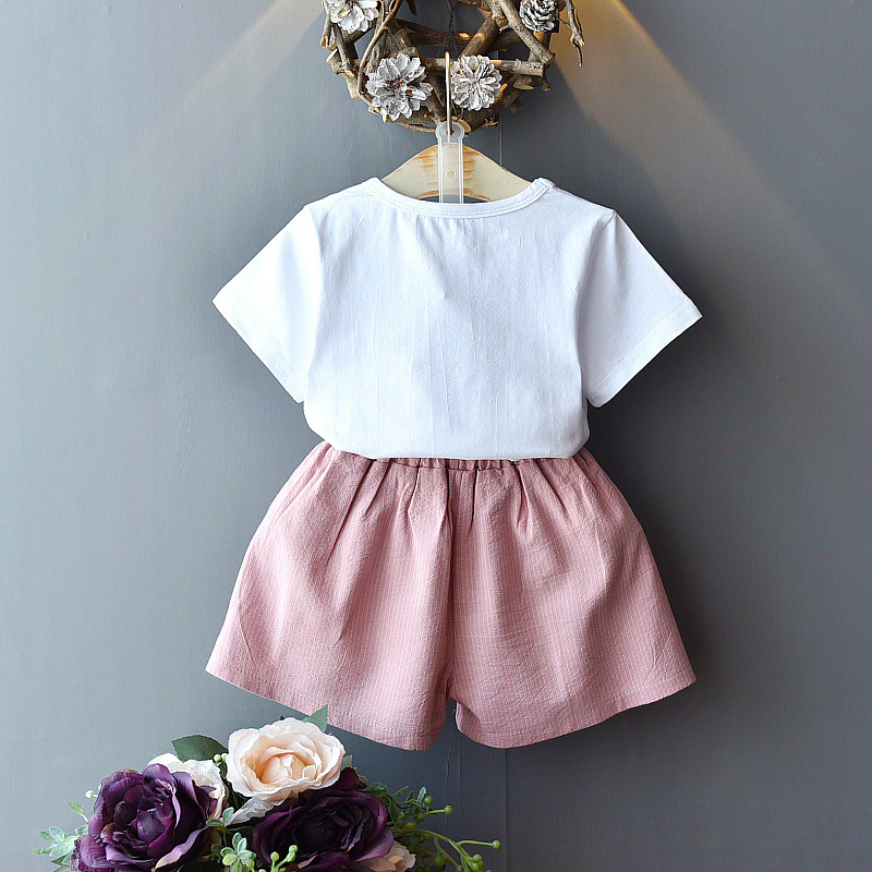 Gooporson Summer Kids Clothes Cute Flower Collar Top&bow Shorts Cute Little Girls Clothing Set Fashion Children Outfits