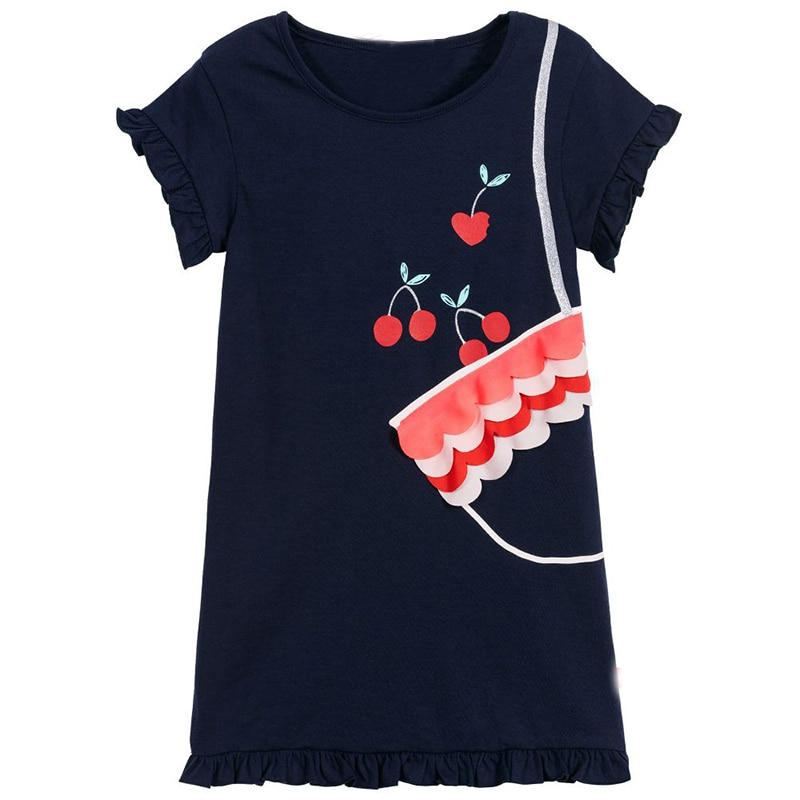 2020 New Girls Dress Summer 2-8 Years Casual 100% Cotton Unicorn Kids Short Sleeve Clothing Dresses For Children