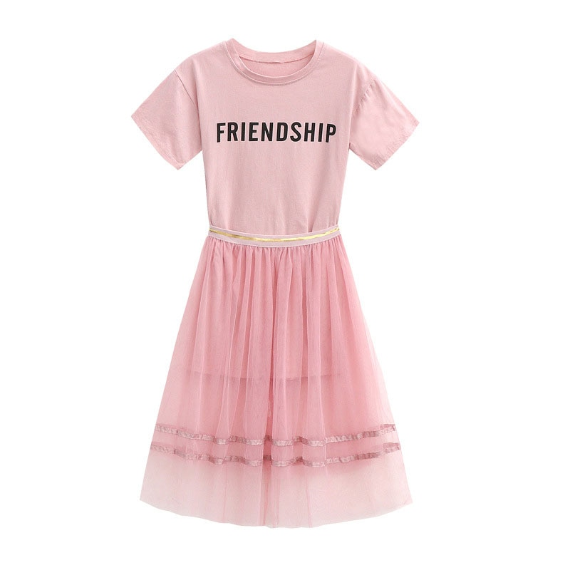 Kids Summer Clothing Sets Girls Long T-shirt +skirt 2pc Suits Children Short Sleeve Outwear  Baby Girl Clothes 4-13year