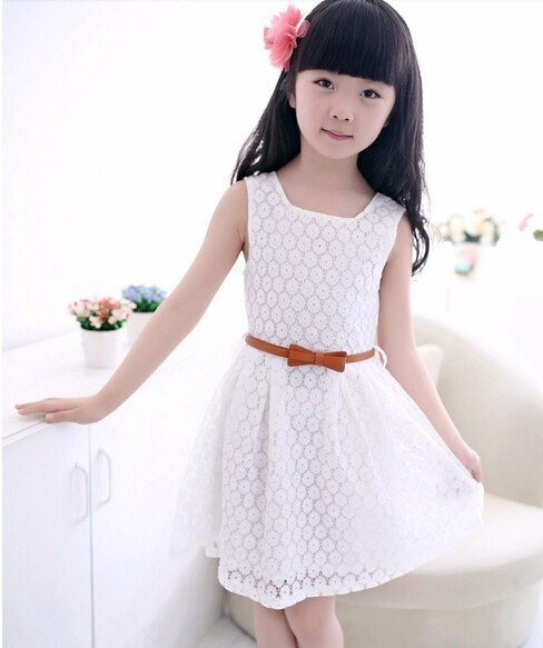 Girls Dress New Summer Style Lace Vest Baby Girls Dresses With Belt Chlidren Clothes Girls Clothing Kids Party Dress 3-7Y