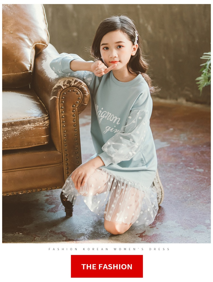 Fashion 2019 Children Girls Dresses Long Sleeve White Lace Clothes Spring Autumn Teenage Clothing Baby Dress Sweatshirt Dresses