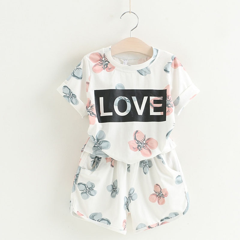 Humor Bear Baby Girls Clothes Kids Set Fashion Love Letter + PANT 2PCS SET Baby Girls Clothing Set Kids Cartoon Clothes Set