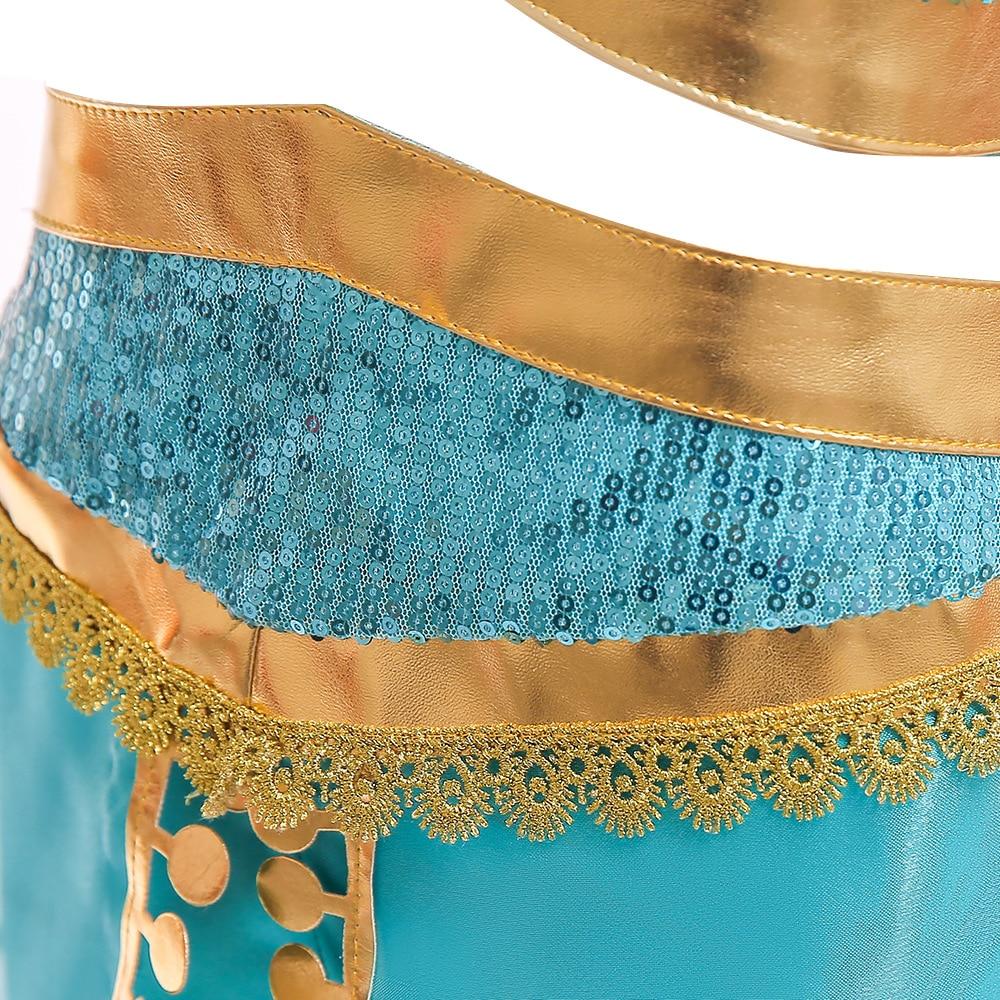 Arabian Princess Jasmine Dress For Girls Jasmine Cosplay Costume Kids Sleeveless Sequined Halloween Sets Fantasy Girls Clothing