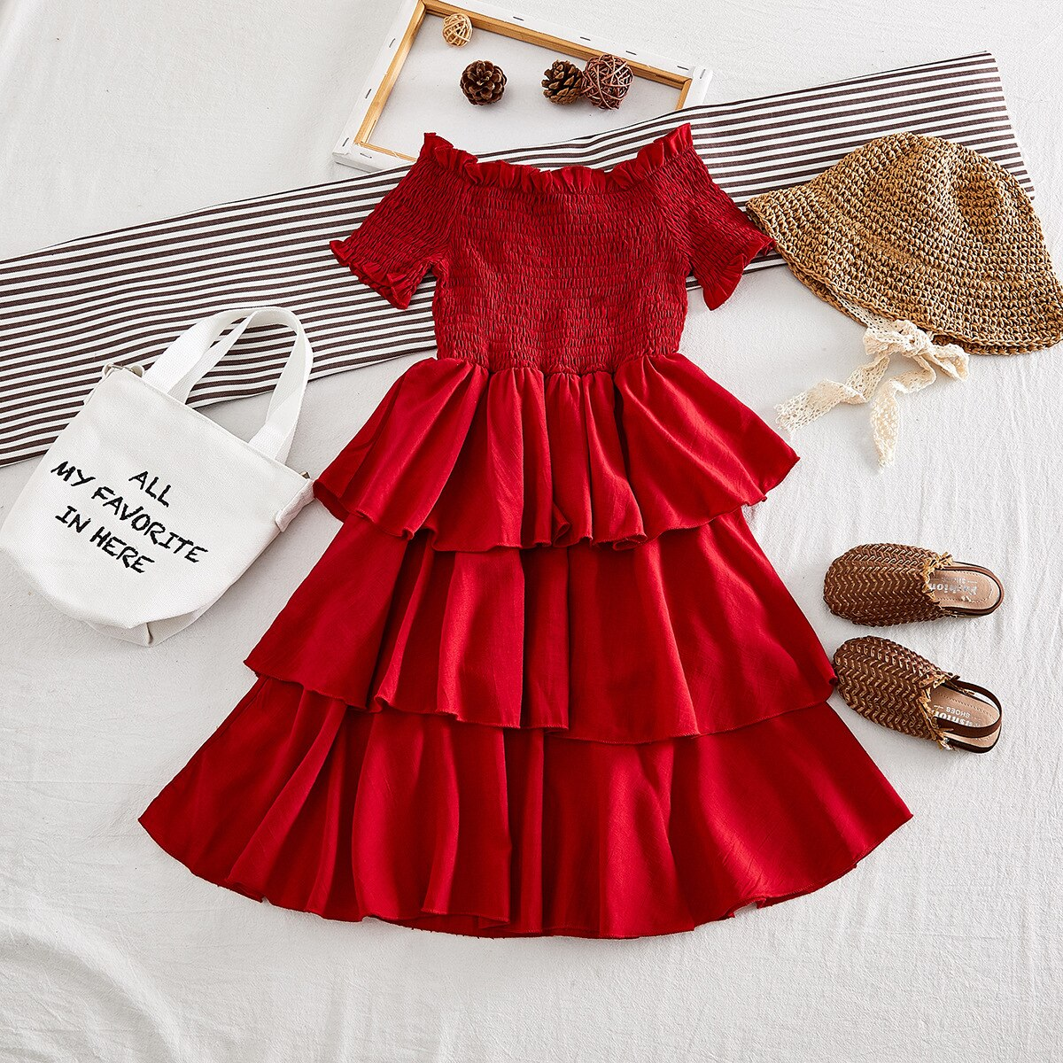 Girls Dress Fashion Red Cake Dress Baby Girl Princess Party Clothes Dress Girl Clothing Elegant High Quality Christmas Dress
