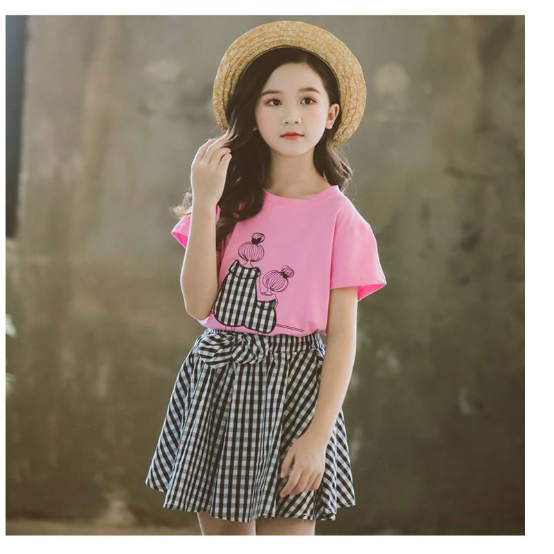 Summer Children Clothing Sets for Girls T-shirts+short Pants 2pcs Kids Outfits Cotton Baby Plaid Shorts Girl Clothing
