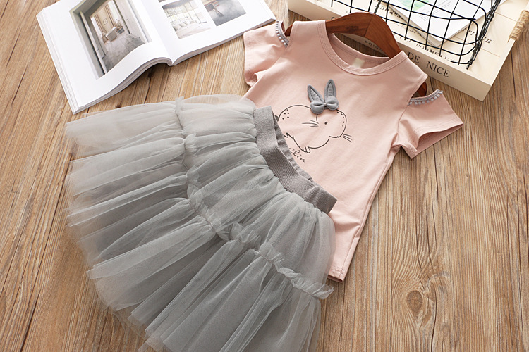 Humor Bear Kids Clothes Summer Girls Clothing Sets Bud Silk Lace Short Sleeves + Red Stripe Shorts 2Pcs Children'S Clothing